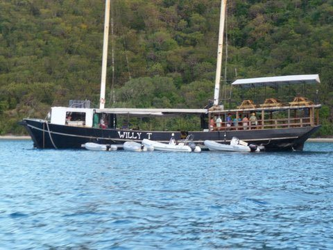 The Willy T (William Thornton) at The Bight on Norman Island BVI